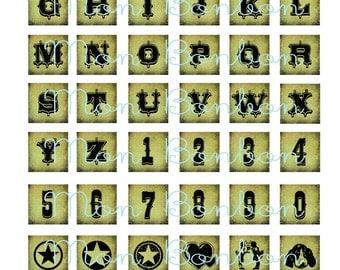 48 Vintage Circus Font Alphabet Inchies 1x1 squares - DIY Printables - INSTANT DOWNLOAD