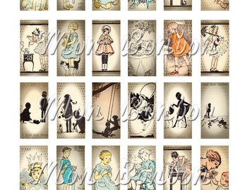 Vintage Children's Book Illustrations Collage Sheet Digital Download of 24 1x2 Inchies Collage Sheet - DIY Printable - INSTANT DOWNLOAD