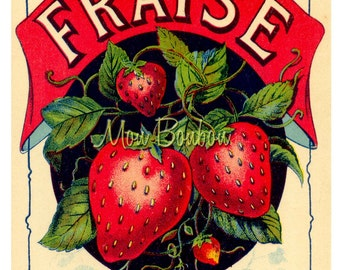 Digital Download of Large 8x10 Vintage French Fraise Label - You Print - Instant Download