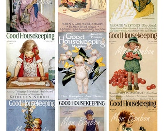 Vintage Good Housekeeping Magazine Covers Collage Sheet - DIY printable - INSTANT DOWNLOAD