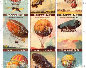 Digital Collage Sheet of Vintage Hot Air Balloons No. 2   for your artwork, atc, aceo, cards, tags, craft, card making supplies No.127