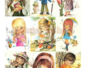 Vintage Retro Kids Digital Collage Sheet - Instant Download - DIY Printable paper crafts,altered art, atc, journals, scrapbooking, pocket
