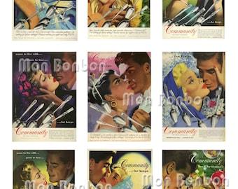 Vintage Retro Cutlery Magazine Ads Collage Sheet - INSTANT DOWNLOAD