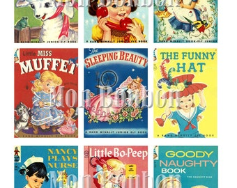 Vintage Retro Girly Childrens Book Covers Digital Collage Sheet - Instant Download
