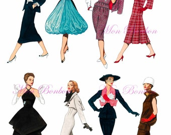 Eight 1950s Fashion-istas Digital Collage Sheet .PNG - DiY Printables - INSTANT DOWNLOAD