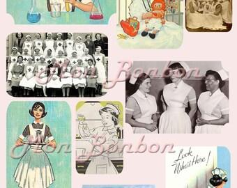 Vintage Retro Nurse Images Digital Collage Sheet - INSTANT DOWNLOAD