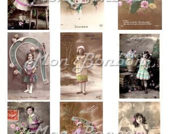 Digital Collage Sheet of Vintage French Bonne Anne Kids Photos - DIY Printable - INSTANT DOWNLOAD
