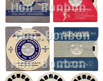 Vintage Viewmaster Digital Collage Sheet - DIY you print - INSTANT DOWNLOAD