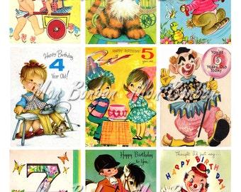 Digital Collage Sheet of Vintage Birthday Card Images - INSTANT DOWNLOAD