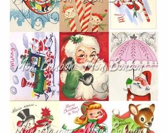 Digital Collage Sheet of Vintage Retro Christmas Card Images - DIY Printable - INSTANT DOWNLOAD