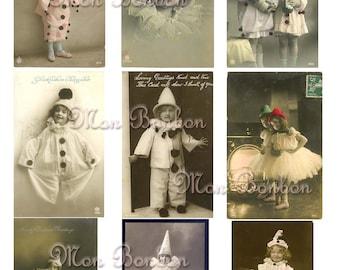 Vintage Clown Kids Photos Postcards Digital Collage Sheet - INSTANT DOWNLOAD