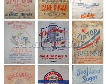 Vintage Flour, Sugar and Feed Sack Digital Collage Sheet - DIY Printable - INSTANT DOWNLOAD