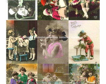 Vintage Kid Postcards Hand Tinted Digital Collage Sheet - INSTANT DOWNLOAD