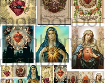 Vintage Religious Sacred Heart No. 2 Digital Download Collage Sheet 2.5 x 3.5, 1x1 and 1x2 inch - DIY Printable - INSTANT DOWNLOAD