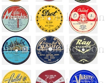 vINTAGE rECORD LaBeLs Digital Collage Sheet ATC Mixed Media Clip Art  Cupcake Toppers - INSTANT DOWNLOAD