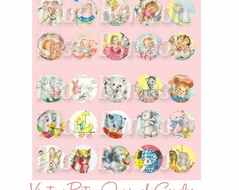 Vintage Retro Baby and Animals 1 inch CircleCupcake Toppers Digital Collage Sheet - DIY Printable - INSTANT DOWNLOAD