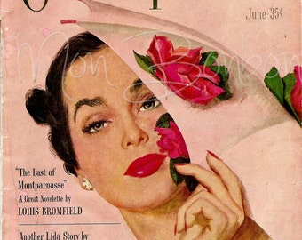 Digital Download of a 5x7 or 8x10 Vintage Pink Cosmopolitan Magazine Cover - You Print - INSTANT DOWNLOAD