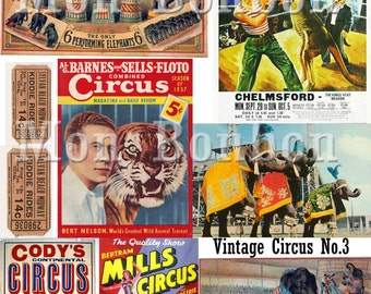 Vintage Circus Posters and Ephemera Collage Sheet No.3 - DIY Printable - INSTANT DOWNLOAD
