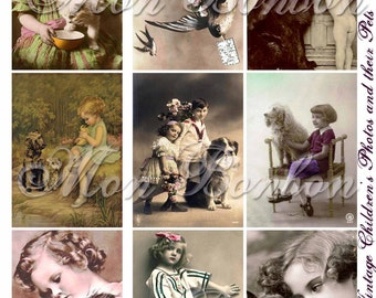 Digital Download of 9 Vintage Children and their Pets Collage Sheet - INSTANT DOWNLOAD