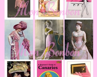 Vintage and Retro Pink Digital Download Collage Sheet  AtC sized 2.5 x 3.5 - DIY Printables - INSTANT DOWNLOAD