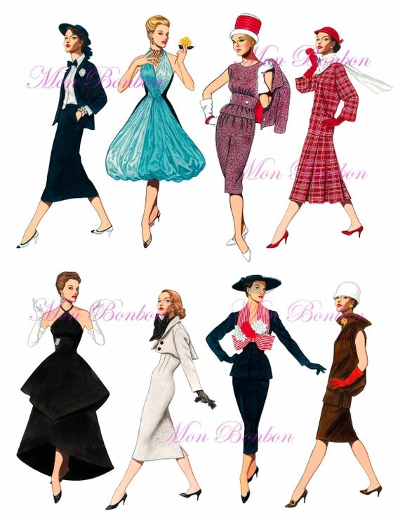 Eight 1950s Fashion Istas Digital Collage Sheet Png Diy