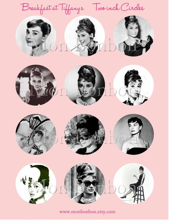Breakfast at Tiffany's Digital Collage Sheet of 2 inch Circles Audrey Hepburn Movies No. 131 - INSTANT DOWNLOAD