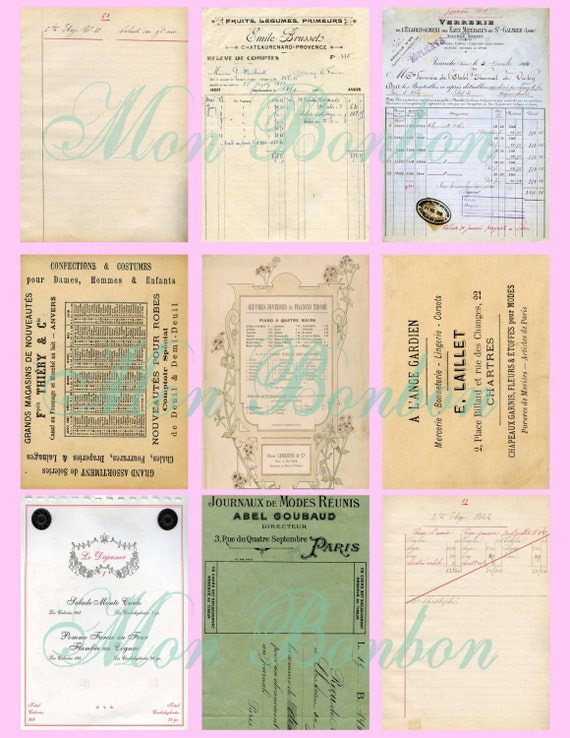 Digital French Vintage Ephemera ATC Backgrounds Collage Sheet  2.5 x 3.5  ACEO ZNE