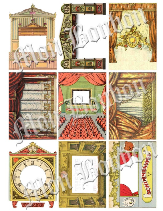 ATC ACEO Vintage Toy Theater  Collage Sheet 9 Theatre  zne paper art collage 3d mixed media opera house supplies