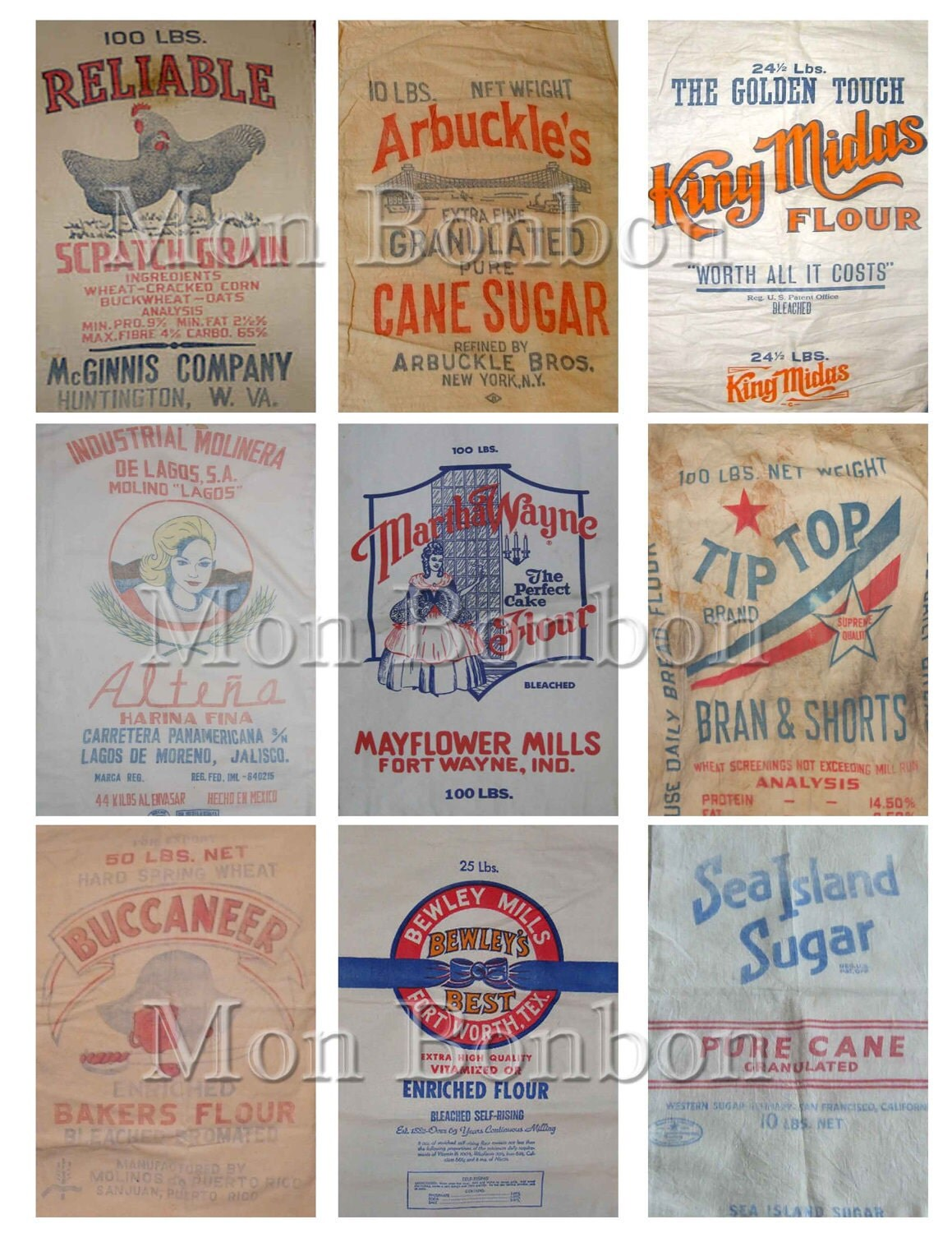 Vintage Feed Sack Flour Sack Pale Pink Background With Thin