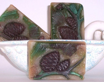 Spruce Pine Glycerin Soap with pine cones and green branches