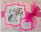 Birthday Greeting Card Bright Pink Flowery Hedgehog Card