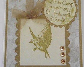 Handmade Gold greeting card Pretty and shimmery Blank Thinking of you Greeting card