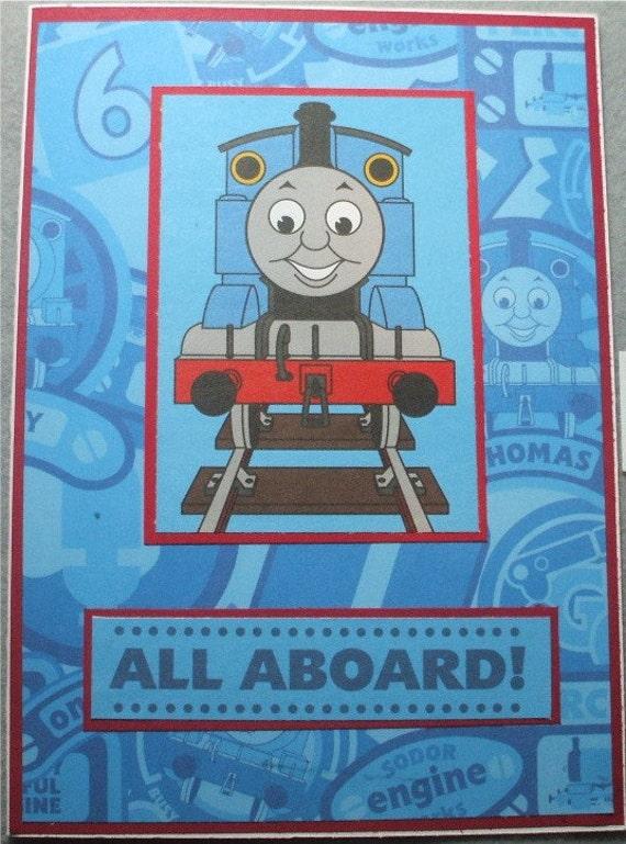 Thomas the Train Handmade Birthday Greeting card Blue and red – Thomas Tank Engine Birthday Card
