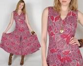 60s/70s Pink Purple Paisley Pansuit Dress M