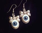 """Antique Silver Victorian style Sweet Bow """"Evil Eye"""" earrings- German hand blown glass eye"""
