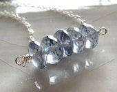 Quartz rondelle and sterling silver necklace - Imo Bold Slate