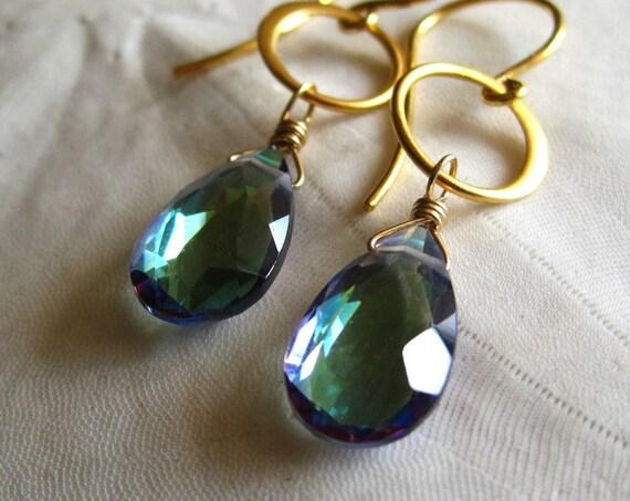 Rainbow topaz earrings gold - Alohi Golden v3