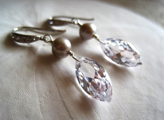 Cubic zirconia earrings pearl crystal sterling silver - Momi Marquise