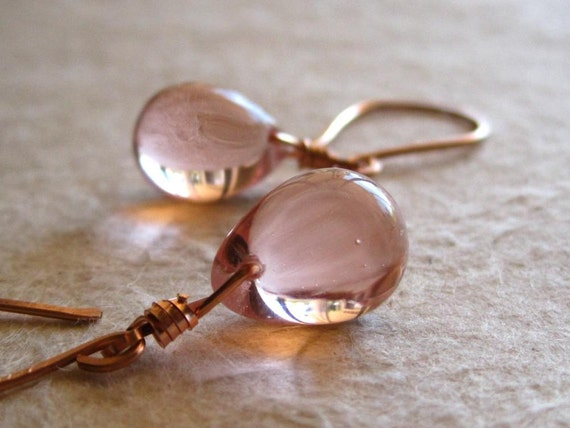 Rose gold earrings pink glass earrings pastel pink jewelry rose glass earrings Makou by Kahili Creaitons of Hawaii