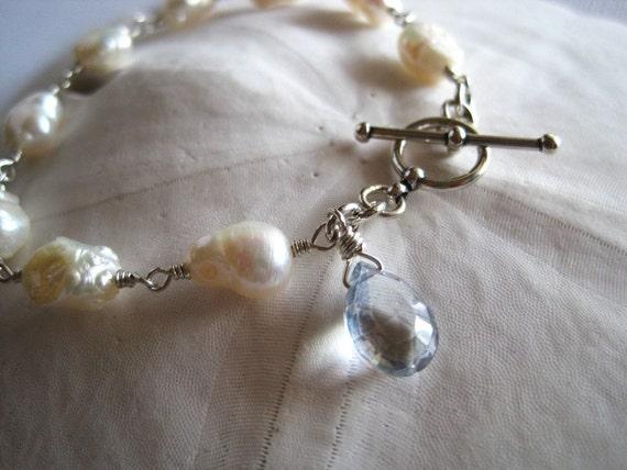 Keshi pearl keishi pearl bracelet  sterling silver - Momi Organic Cream
