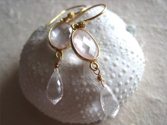 Rose quartz earrings, rock crystal  gold rose quartz jewelry - Wahine v2