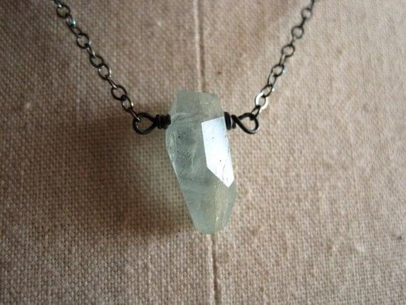 Aquamarine necklace sterling silver aquamarine jewelry - Makoa Nugget v4