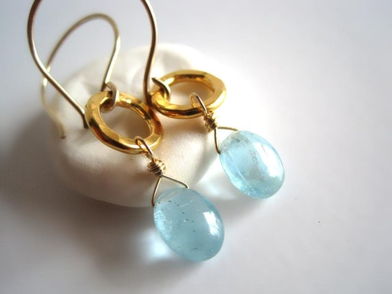 Moss aquamarine earrings gold circles moss aquamarine jewelry - Makoa Ovals v3