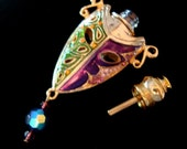 MARDI GRAS MASKED Vessel, Great For Oil, Perfumes Or Breath Freshner, Very Limited, 1 Available