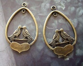 Love Birds On A Heart Earring Component Or Necklace Supply, Pair, Solid USA Brass, Jewelry Supply, Just Add Chain Or Ear Findings, Embelish