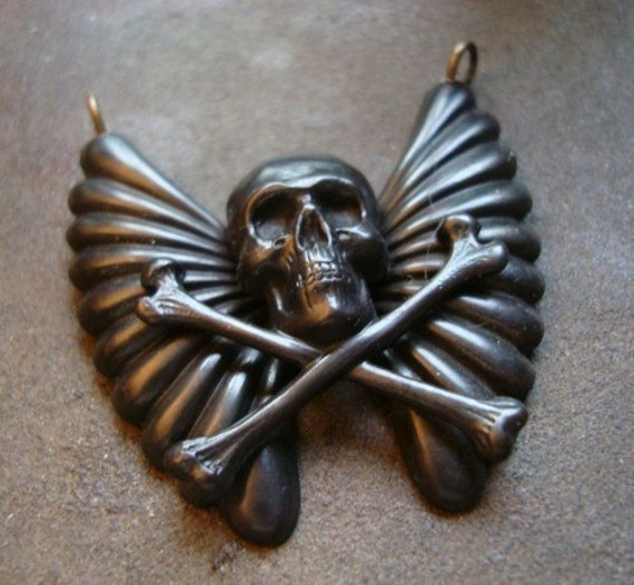 Gothic Winged Skull, Handmade Custom Pendant, Jewelry Supply, Flight Of A Dark Soul, Just Add A Chain, Ships From USA