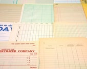34 Vintage Assorted Accounting Ledger Book Pages for Collages\/Mixed Media\/Scrapbooking