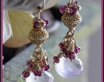 Rose Quartz, Rhodolite Garnet and Gold Earrings