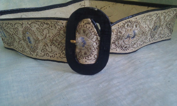 BLACK FRIDAY SALE  Vintage Brocaded Victorian Ribbon Belt With Leather-  Small