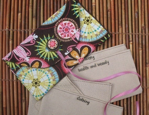 Designer Fabric MIchael Miller SIX Cash Only  Personalized Envelopes with Cute Carrier